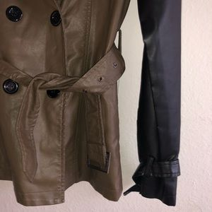 Army Green Vegan Leather Trench